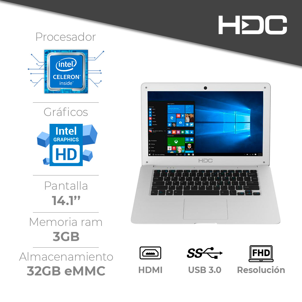 Notebook HDC CloudBook 14.1p Celeron 3 GB 32 GB Win 10 img 2